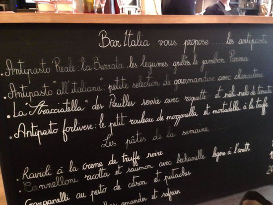 Bar Italia Brasserie: The menu for the week that we were in Paris (25th April)