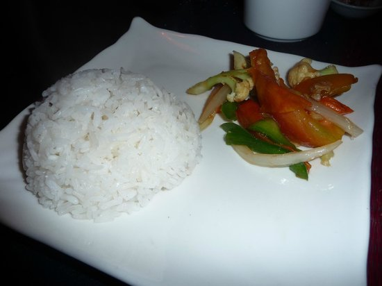 The Touich Restaurant Bar: Rice & veggies that came with our entrees