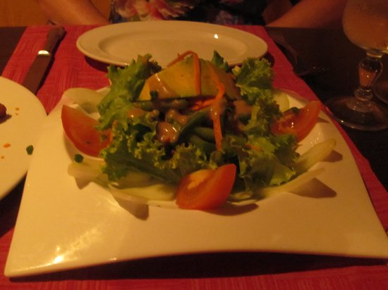 Rudy's: warm goat cheese salad on cool plate