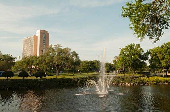 Hilton Orlando Lake Buena Vista - Disney Springs™ Area: View of fountain and the Wyndham across the street