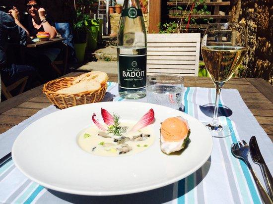 Cabanoix et Chataigne : Crème de choux fleur aux huîtres