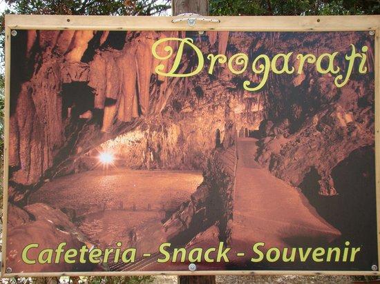Drogarati Cave: Tablica informacyjna