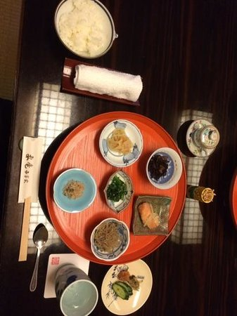Kanamean Nishitomiya : part of breakfast, some grilled fish and soup arrived later