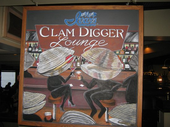 Ivar's Acres of Clams: sign in clam digger lounge