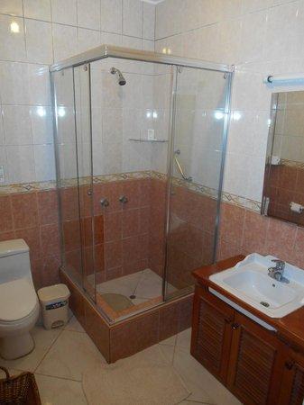 Casa Bella B&B Boutique Hotel : Perfectly good bathroom.  Aqua caliente- todo el dia.