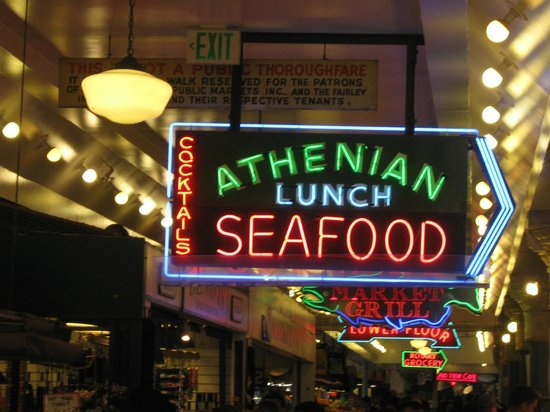 Athenian Inn : sign for restaurant in Pike's Place Market