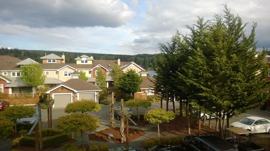 "The Resort at Port Ludlow: our ""bay view"" ... that little bit of blue left of the big green trees :)"