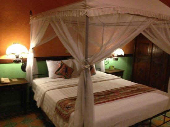 Dusun Jogja Village Inn: 天蓋付きの素敵なお部屋 多少、蚊がいますので気になる方は、虫除けを持参。