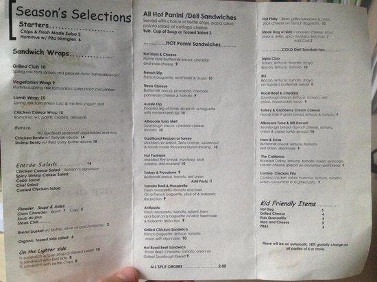 Seasons Cafe : Seasons lunch menu