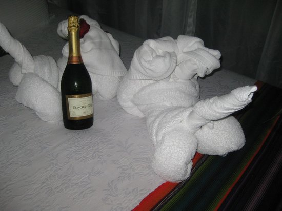 Nayara Hotel, Spa & Gardens: champagne they left on our bed for our honeymoon- so sweet!