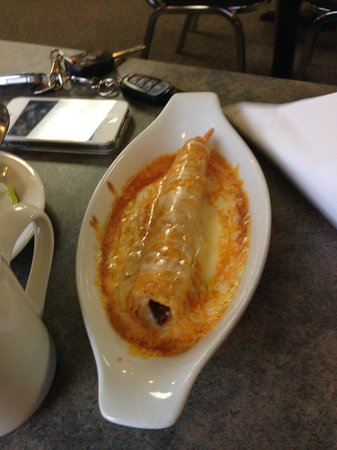 Enchilada alone, of the appetizer menu.  Delicious.  Del Rios  |  644 Main St , Winkler, Manitob