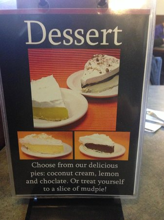 Dessert menu on the tabel at Del Rios  |  644 Main St , Winkler, Manitoba R6W 1B7, Canada
