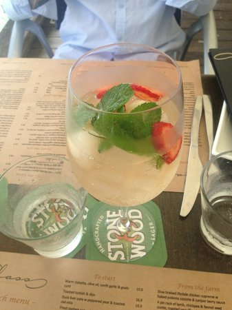Glass Dining and Lounge Bar: Moet on ice with Lychees and Strawberries