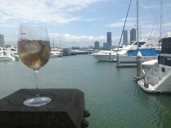 Glass Dining and Lounge Bar: The view of the Marina