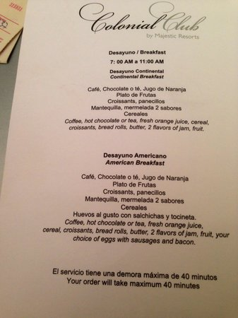 Excellence Punta Cana Room Service Menu