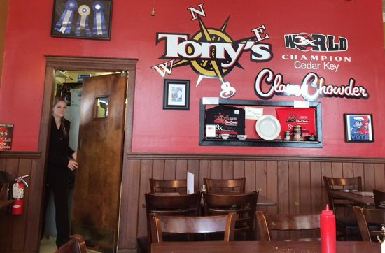 Tony's Seafood Restaurant : Interior has old-fashioned charm.