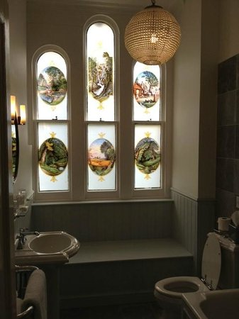 The window in the bathroom of our suite at Beechfield House.