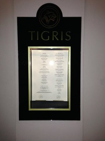 Tigris Restaurant : Tigris menu (outdoors)