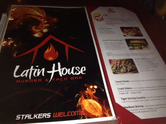 Latin House Burger and Taco Bar: Menu had Guy's choices which was cool.
