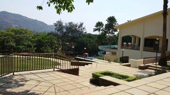 Fariyas Resort Lonavala: Resort gardens and pool slides..