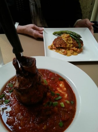 Sweet Basil's Cafe: Pork Shank Osso Buco and Salmon dishes