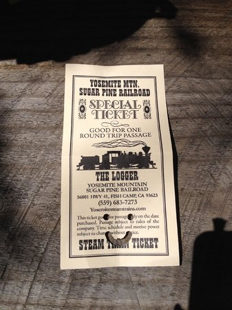 Yosemite Mountain Sugar Pine Railroad : Kids' tickets get a smiley face   :)