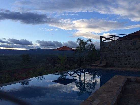 Bashay Rift Lodge: view from pool at sunset