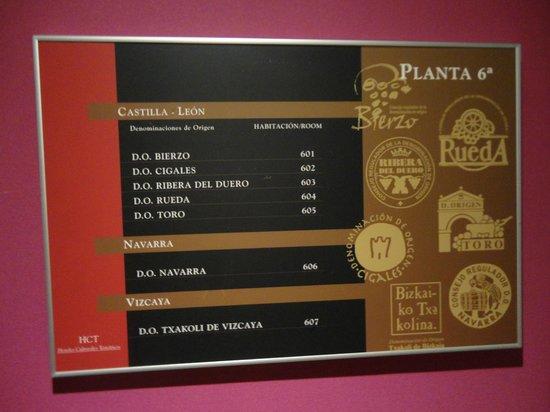 Ibis Styles Madrid Prado: Quadro, no corredor, explicando a uva tema de cada quarto