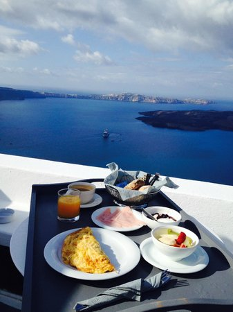 On The Rocks : Breakfast day2!! Yum Yum with Aegean Seaview!!