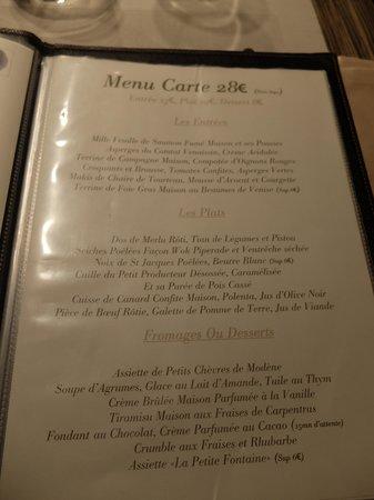 La Petite Fontaine: menu