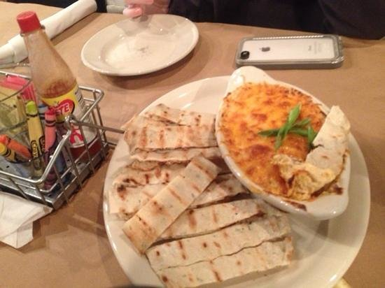 Old Salt: hot cheesy crab dip with flatbread