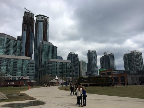 Toronto Railway Museum: Grounds of the Railway Museum with waterfront condos in the background.