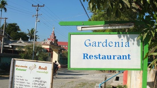 Gardenia Restaurant : The sign as seen from the road where May Guesthouse is also located