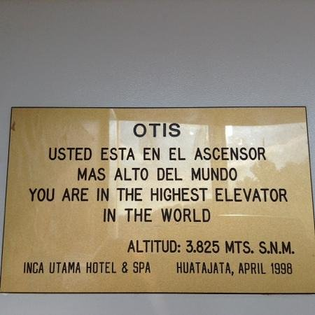 Inca Utama Hotel: worlds highest elevator