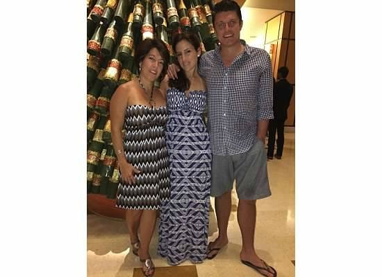 Hyatt Regency Trinidad : Us taking a photo in front of the bamboo Christmas tree..