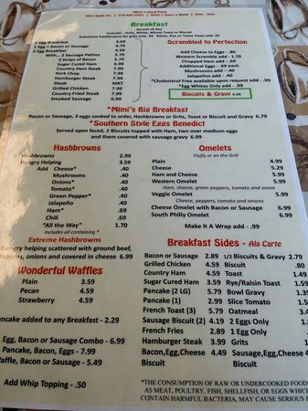 Great menu reasonable prices Picture of Mimi s