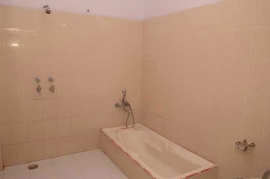 Hotel Roop Mahal: spacious bathroom with a tub