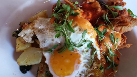 The Mews: Hash browns with pulled pork, fried egg, salsa & cheese sauce