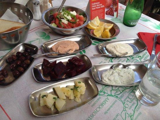 Lofou Taverna: Mezze plates. Just a beginning of the course.