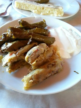 Koy Sofrasi: Stuffed vine leaves and stuffed cabbage leaves - so good!