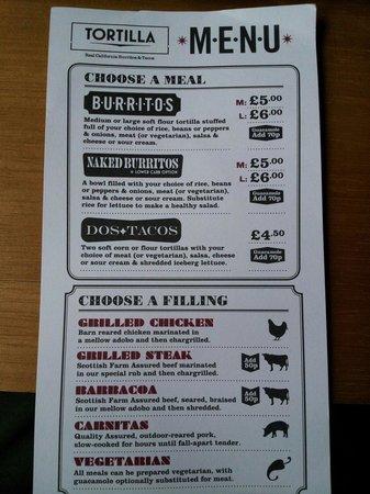 Tortilla : prezzi burritos