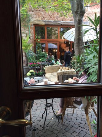 Cafe Solo: Blick aus dem Gastraum in den Innenhof.
