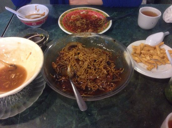 Fried noodles and beef and bean sauce.