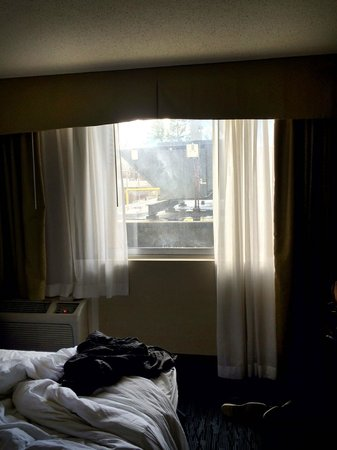 DoubleTree by Hilton Hotel Norwalk: Room 201 with view of giant HVAC unit and CostCo.