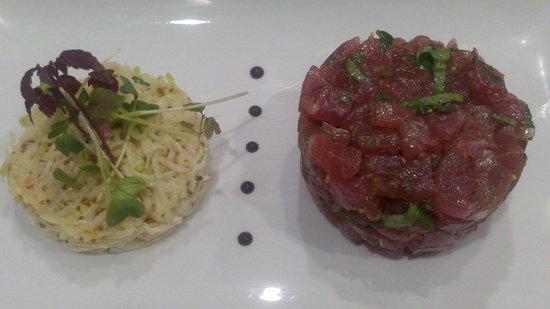 Etoile des Mers : Tartare de thon, salade de chou rave.