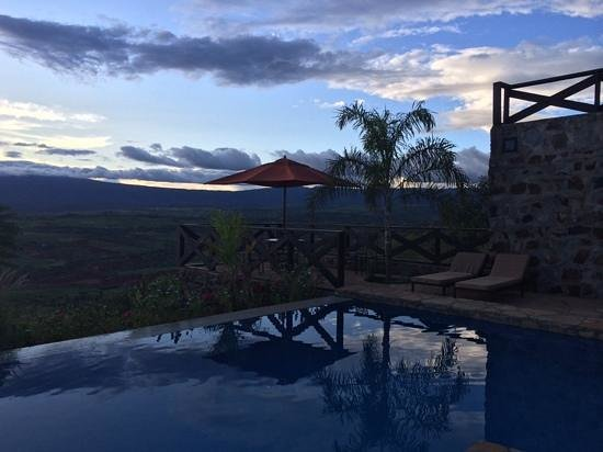 Bashay Rift Lodge: view just after sunset from the pool.