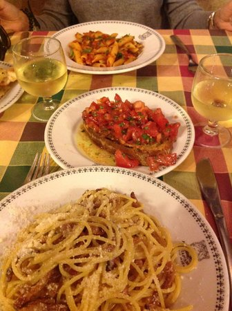Gioia Mia Pisciapiano: Penne,Brischetta,Grigia e sempre vino Bianco della casa