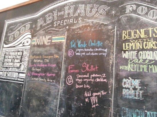 Abi-Haus: Chalkboard specials