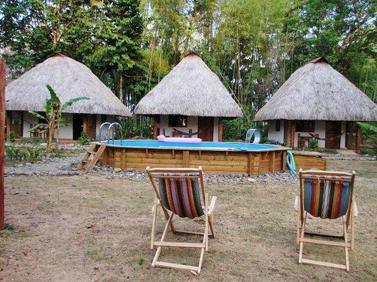 Naturalmente Boutique Bungalows: Piscine et les 3 cabanas