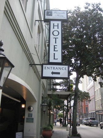 Bienville House: Hotel sign from sidewalk on Decatur